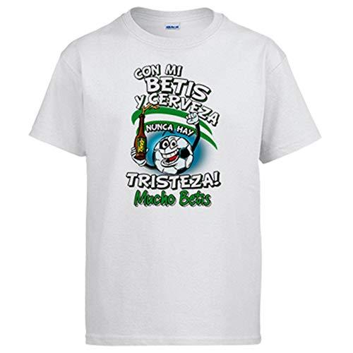 Camiseta Frase con mi Betis y Cerveza Nunca Hay Tristeza para Aficionado al fútbol - Blanco, XXL