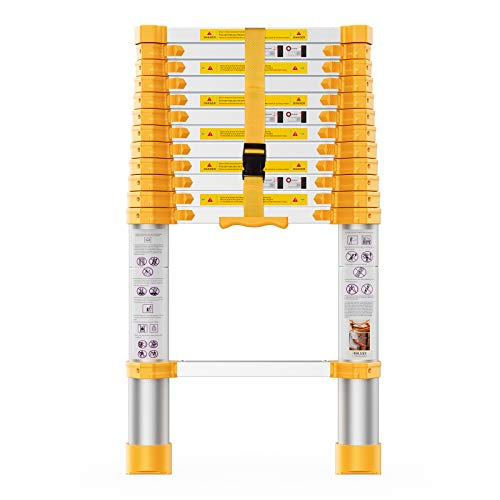 Telescoping Extension Ladder 12.5FT Heavy Duty Upgrade,Aluminum Telescopic Ladder with Upgrade...