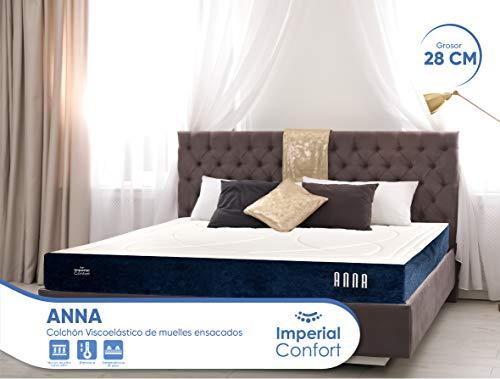 Imperial Confort Elite Anna Materasso a molle insacchettate e viscoelastico, 28 cm di spessore, 7 zone di comfort, 135 x 200 cm, matrimoniale