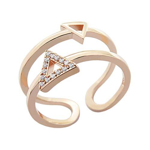 LG GL Anillo de Corte Triangular Anillo de Apertura geométrica Anillo de Doble Capa con Incrustaciones de Diamantes
