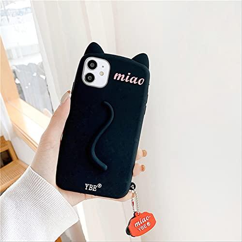 3D Cute Cat Ears Tail Funda para teléfono para iPhone 12 Pro MAX 12 11Pro MAX XS MAX XR X 6 6s 7 8 Plus Funda Blanda con Colgante de Pata de Gato de Dibujos Animados para iPhone XS MAX con Colgante
