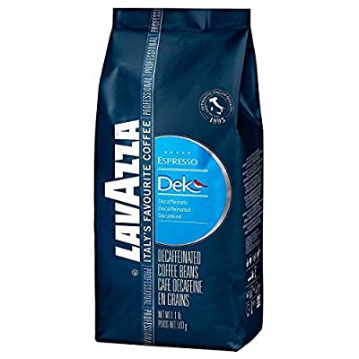 Lavazza Dek Whole Bean Coffee Blend, Decaffeinated Dark Espresso Roast, 1.1-Pound Bag