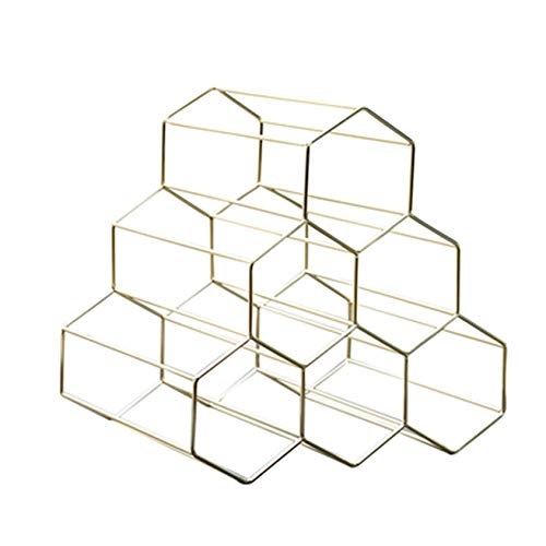 Cremagliera del Vino D'oro semplice Europeo Creativo Ferro battuto Artigianale Scaffale per Vino a Nido d'ape a Nido d'ape Cucina di casa Bar Decorazioni da tavolo