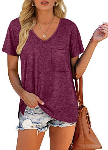 Summer Tops for Women V Neck Short Sleeve Basic T-Shirt Mauve XL