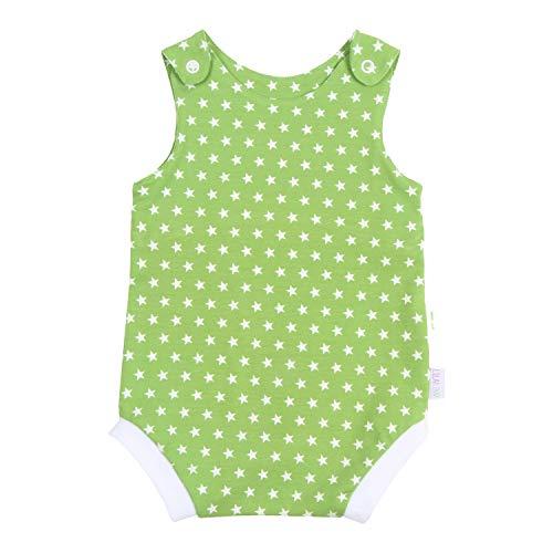 Lilakind - Pelele de verano para bebé, diseño de estrellas blancas, talla 50/56-74/80 - Fabricado en Alemania. verde blanco 62 cm-68 cm