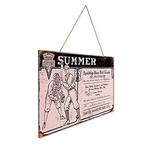 """Placa de madera con texto en inglés """"N A Summer Baseball Goods"""" para pared o decoración del hogar, rústico, vintage, foto de bienvenida, póster de bienvenida, bar, cafetería, dormitorio, hotel"""