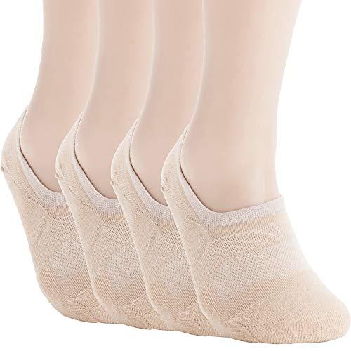 Pro Mountain No Show Socks For Women Cotton Cushion Footies Liner S M L XL Sneakers Loafer Footies Flats US Women Shoe Size 10-12 Men 9-11 Beige 4 Pack