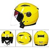 Dgtyui Casco moto mezzo volto ABS casco moto casco doppia lente femmina/maschio design unico stile design moda - Giallo XM