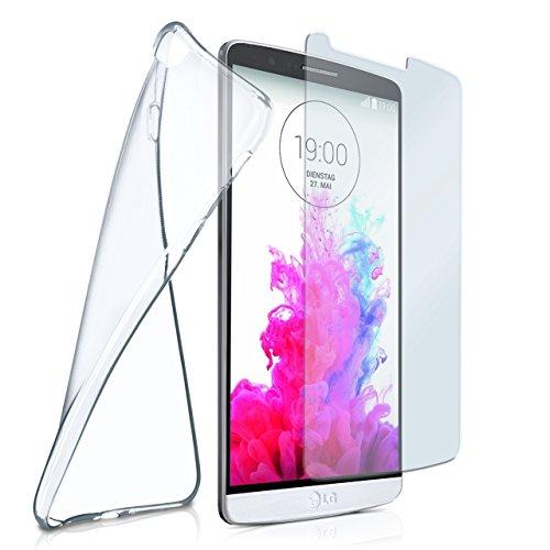MoEx® Silikon-Hülle für LG G3 | + Panzerglas Set [360 Grad] Glas Schutz-Folie mit Back-Cover Transparent Handy-Hülle LG G 3 Case Slim Schutzhülle Panzerfolie