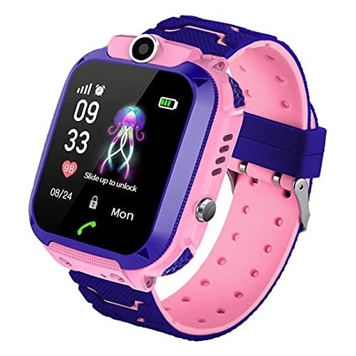 PTHTECHUS Niños Smartwatch Impermeable, Reloj Inteligente Phone con LBS Tracker SOS Chat de Voz Cámara Despertador Juego Cálculo para Regalos Estudiantes Compatible con iOS Android (02-LBS SOS Rosa)