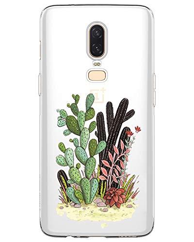 AIsoar ® Coque OnePlus 6 Coque de Protection TPU Ultra Mince Antichoc Housse arrière Transparente Résistant Silicone aux Rayures Couverture UFO pour OnePlus 6 (Cactus)