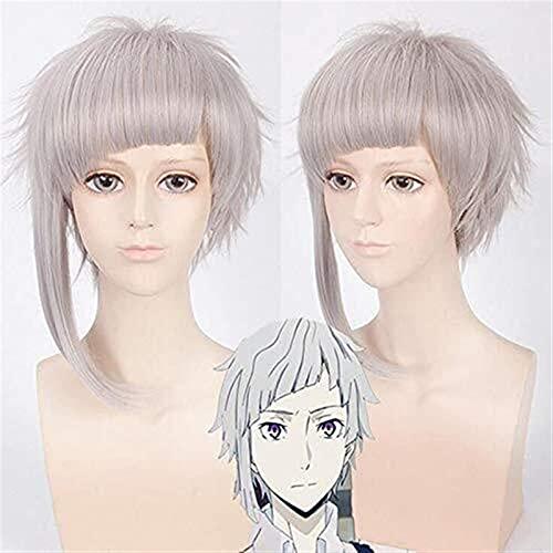 Hencik Cosplay Anime Bungo Perros callejeros Ryuunosuke Akutagawa Cosplay peluca de pelo sintético corto negro blanco mezcla Cosplay peluca + peluca Cap belleza