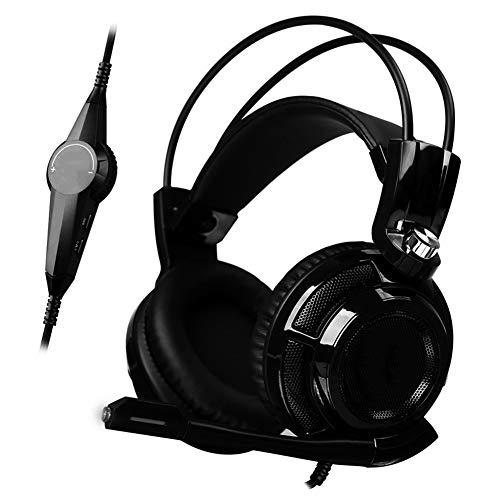 XHN Casque de Jeu Filaire Casques d'écoute PC PS4 USB, Casque stéréo Surround 7.1 avec sur-Oreille avec Micro antibruit, Voyant Lumineux Del Bass Surround Cache-Oreilles Doux-Black