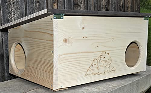XXXL Premium Meerschweinchenhaus * kein Bausatz * Meerschweinchen Spielhaus Haus 20mm Vollholz Naturbelassen 62cm x 40cm x 29cm Herstellung in Niederbayern