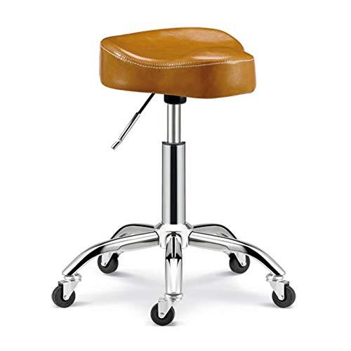 WANGXN Sattelhocker auf Rädern, Verstellbarer Rollhocker, gepolsterter Sitz aus Kunstleder, Arbeitshocker für Schönheitsstudio, Büro, Klinik