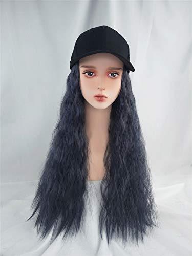 Meisjes Hoed met synthetisch haar uitbreiding, 24 inches lang krullend pruik met Black Cap for Vrouwen Ladies dagelijks gebruik Party Baseball (Color : Haze blue)
