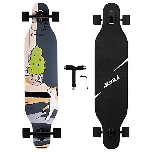 Junli 41 Inch Freeride Longboard Skateboard - Skateboard Cruiser for Cruising, Carving and Downhill(Floral)