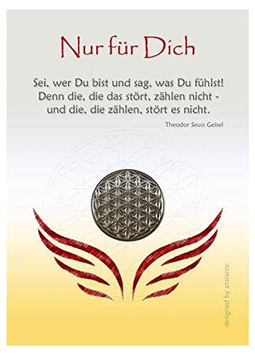EnerChrom Blume des Lebens Glücksmünze - Nur für Dich - 1 Stück, Farbe Silber - Glücksbringer Zitat Lebensblume Talisman