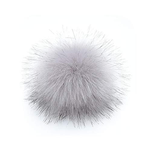 happy-Boutique Pompom Faux Fur 12 cm Tassel Ball Hat DIY Ball Cap Multicoloured Light Grey