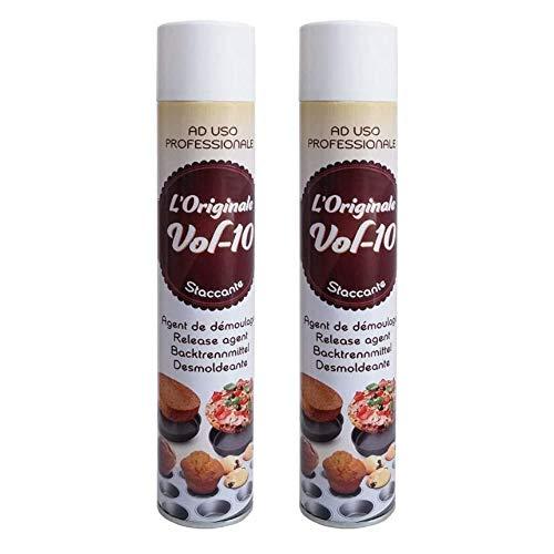 2 pezzi - STACCANTE spray ALIMENTARE per teglie 500ml - Burro spray antiaderente ideale per torte, dolci e salati - per oliare stampi, padelle ecc - VOL 10 ad uso professionale