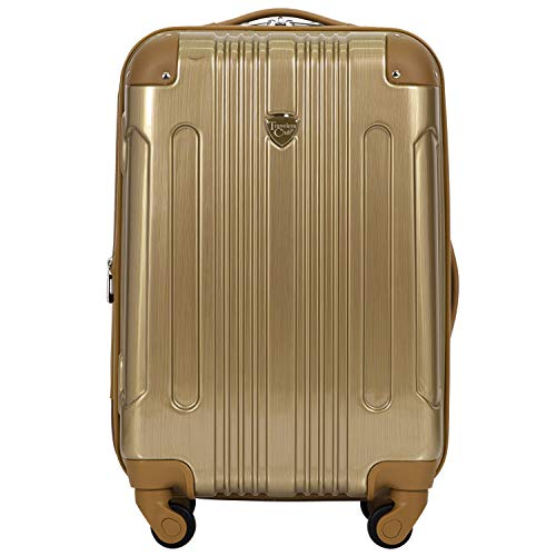 Travelers Club 20' or 3 Piece Polaris Metallic Spinner Luggage Set, Pale Gold, Carry-On