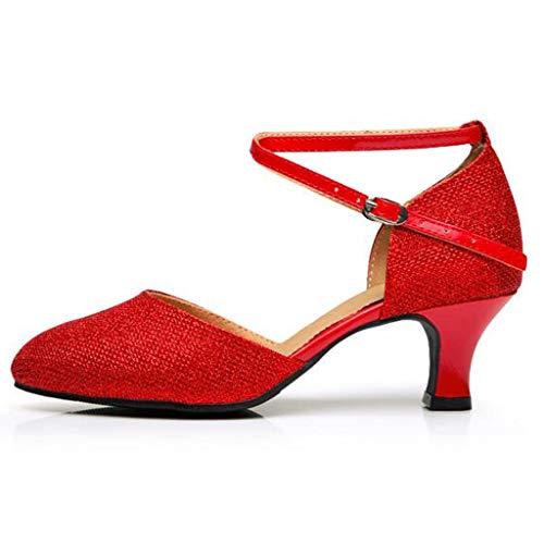 Binggong Damen Mary Jane Tanzschuh Modern Sparkle Salsa Tango Ballsaal Latin Dance Schuhe Geschlossen Standard Abendschuhe Ballschuhe
