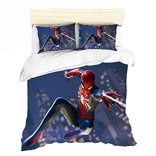 LKFFHAVD Spider-Man - Juego de ropa de cama, diseño de Spiderman de Marvel Avengers Spider Man, funda nórdica de 135 x 200 cm y funda de almohada de 135 x 200 cm