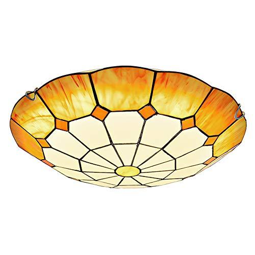 VinDeng Gelb Mittelmeer- Tiffany stil Deckenleuchte, E27 2-licht 20 zoll Deckenlampe Mit Bunt Glas klar Handgefertigt Pendellampe-30CM Blubs