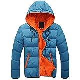 MITCOWBOYS Chaqueta acolchada para hombre con capucha, chaqueta de entretiempo, ligera, de plumón, de algodón, para invierno, cálida, para el tiempo libre, chaqueta amortiguadora, azul, XXXL