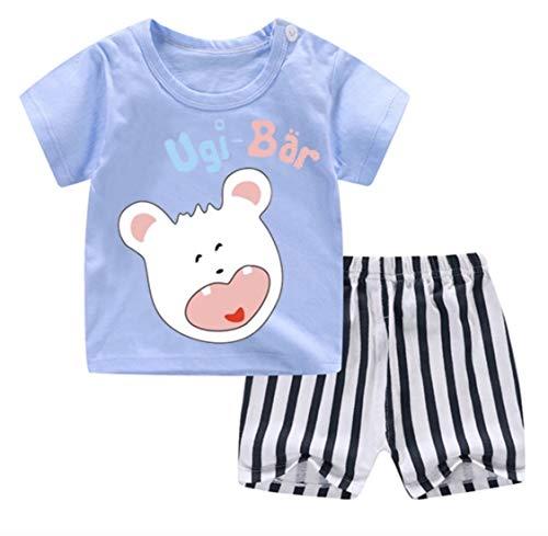 Ugi-Bär Neue Sommer Kollektion 2er-Set Baby Jungen/Mädchen Shirt+Hose (80/55, Babyblau)