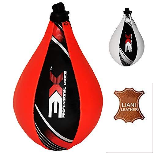 3X Professional Choice Speed Ball Boxing Leather Krav Maga MMA Muay Thai Training Punching Dodge Striking Bag Kit Hanging Swivel Workout Speedball with Swivel Hook (Red, Large (X4 model))