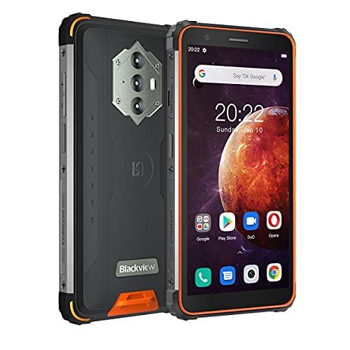 Blackview BV6600 Smartphone, Rugged Smartphone 2021, 8580mAh Android 10 Cellulare 5,7 Pollici HD+ 4GB RAM+64GB ROM/128GB Camera 8MP+16MP 4G Telefono Antiurto, Dual SIM, IP68/GPS/NFC/OTG (arancia)