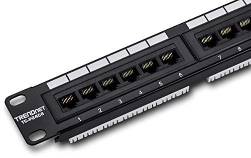 TRENDnet 24-Port Cat6 Unshielded Patch Panel, TC-P24C6, Wallmount or Rackmount, Compatible w/ Cat 3/4/5/5e/6 Cabling, Gigabit/Fast Ethernet/Ethernet Ready, 250Mhz Connection to Copper Gigabit Switches