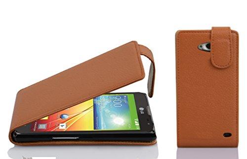Cadorabo Hülle für LG L90 - Hülle in Cognac BRAUN – Handyhülle aus Strukturiertem Kunstleder im Flip Design - Case Cover Schutzhülle Etui Tasche