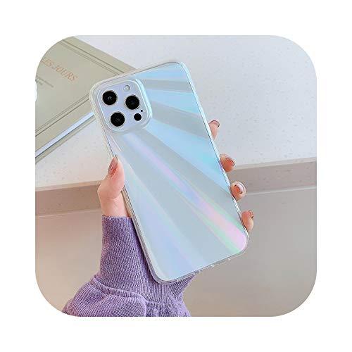 Para iPhone 12 Pro Max Case Laser Aurora Rainbow funda para teléfono iPhone 11 Pro Max XS Max X XR 8 7 Plus suave Bumper Cover b-For iPhone 12 Mini