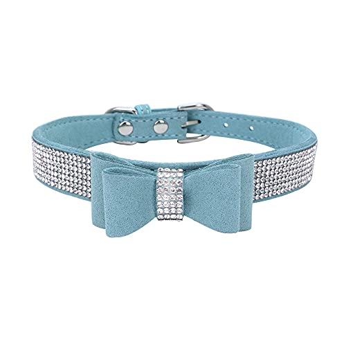 MXJMSD Collares para Mascotas de Cristal de Bling Ajustable de 61x3cm, para con los Accesorios para Mascotas de Perros Grandes Bowknot,Azul,15~21cm