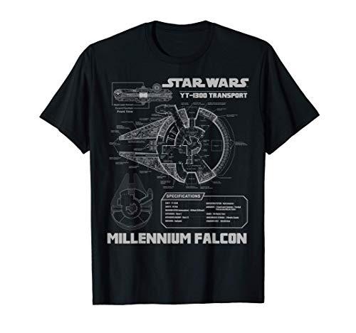 Star Wars Millennium Falcon Grey Schematics Graphic T-Shirt T-Shirt