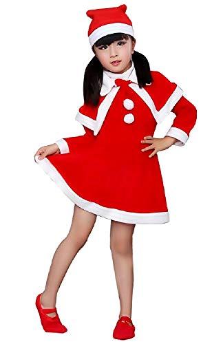 Santa claus-kostuum - meisje - kobold - carnaval - halloween - rood en wit - cape-jurk - feestjes - maat 110-2/3 jaar