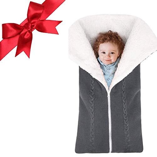 ZQN Baby Swaddle Decke, 2 in 1Baby Swaddle Decke Wrap, mit Reißverschluss Dicke warme Kinderwagen Strickdecke für 0-9...
