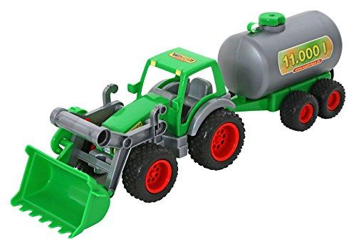 Wader Quality Toys Farmer Technic Traktor + Frontschaufel+Fassanhänger