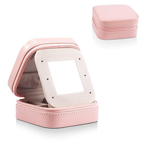 PAMIYO Joyero de piel sintética pequeño con espejo extraíble para