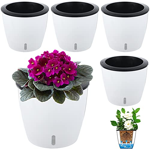 4 Pack 6.7' Self Watering Pots for Indoor Plants with Water Indicator,Large African Violet Pots for Plants,Self-Watering Planters White for Devil's Ivy,Spider Plant,Orchid for Office Home DéCor.