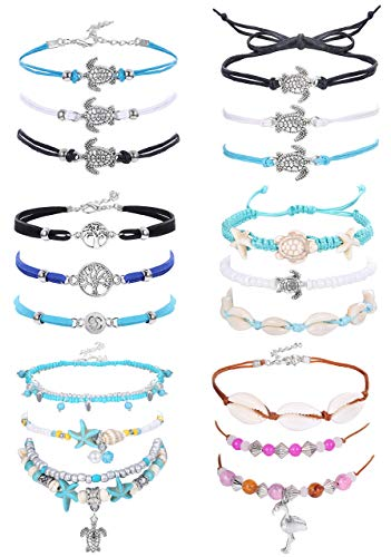 Milacolato 18Pcs Anklet Bracelets for Women Girls Ankle Chain Turtle Wave Anklet Beach Ankle Bracelets Foot Jewelry for Women