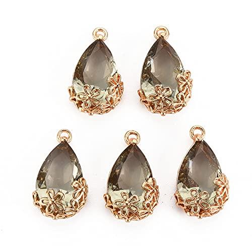 Cheriswelry 50 colgantes de cristal con forma de lágrima facetada con marco de flores de filigrana, cuentas de cristal transparentes de oro para hacer joyas, color caqui oscuro