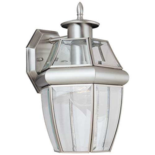 Sea Gull Lighting 8038-965 Lancaster Traditional One-Light Outdoor Wall Lantern Outside Fixture, Antique Brushed Nickel Finish