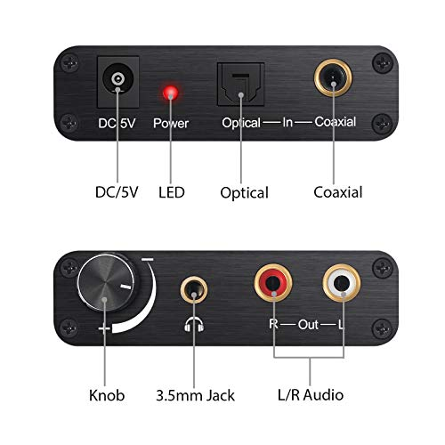 eSynic 192kHz Convertidor Digital a Analogico DAC con Volumen Ajustable Digital SPDIF Optico Coaxial Toslink a Analogico Audio Estereo L/R RCA para PS3 HD DVD PS4 Sky HD BLU-Ray Home Cinema