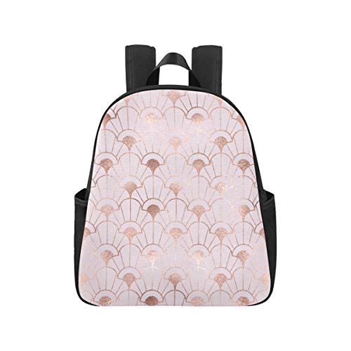 Art Deco Rose Gold Bookbags 12.40x5.12x14.17inch Rucksack College Student Mehrzweck Casual Pendler Rucksack Business Travel School, Büro