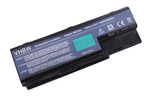 vhbw Li-ION Batterie 4400mAh (14.8V) pour Ordinateur, PC Acer Aspire 5739G, 5930G, 5940G, 6530, 6530G, 6930, 6930G, 6935, 6935G comme AS07B32, AS07B72