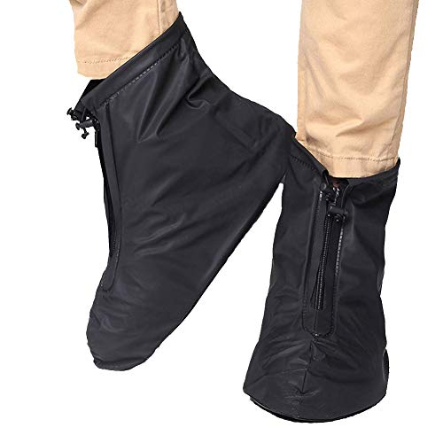 FixWhat Waterproof Motorcycle Bike Shoes Covers,Reusable Anti-slip Rain Snow Shoes Overshoes Gear Zipped Boot for Men and Women Rain Covers (Black, Sole 11.8inch)