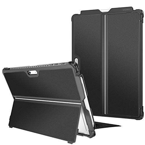 Fintie Hard Case for Microsoft Surface Pro 7/ Pro 6/ Pro 5/ Pro LTE, Shockproof Folio Protective Rugged Cover Compatible with Type Cover Keyboard + Original Kickstand (Black)